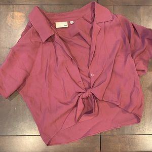 Aritzia Wilfred Free crop blouse xs mauve
